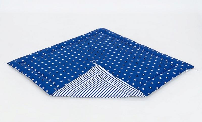 Podložka do stanu pro děti teepee, týpí - hvězdičky bílé na modrém/modré proužky