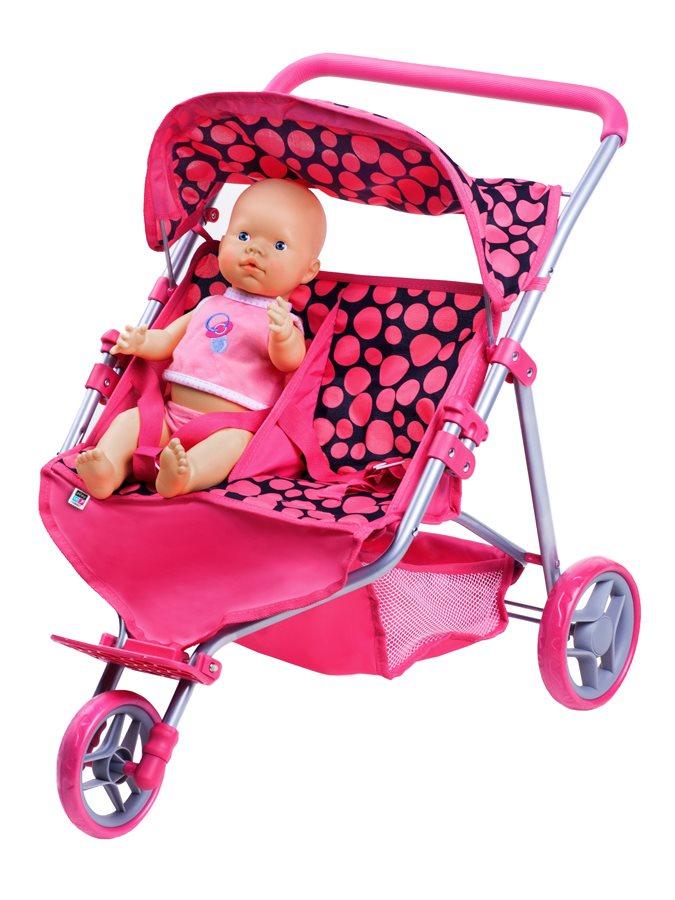 Sportovní kočárek pro 2 panenky PlayTo Klaudie - růžová