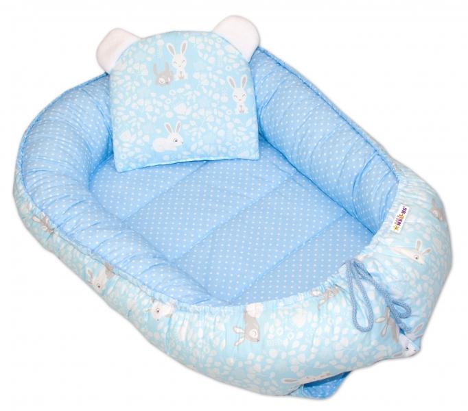 Baby Nellys Oboustranné hnízdečko, kokon 60x90cm - Králičci/puntíky - modrá