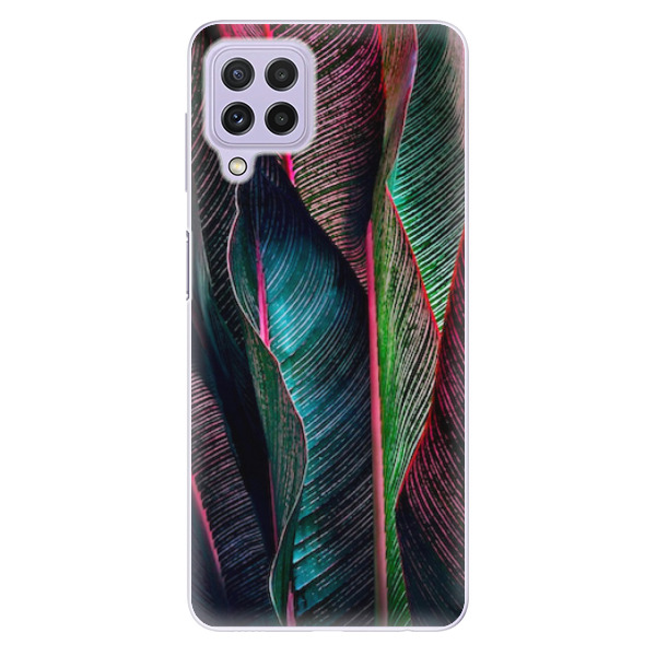 Odolné silikonové pouzdro iSaprio - Black Leaves - Samsung Galaxy A22