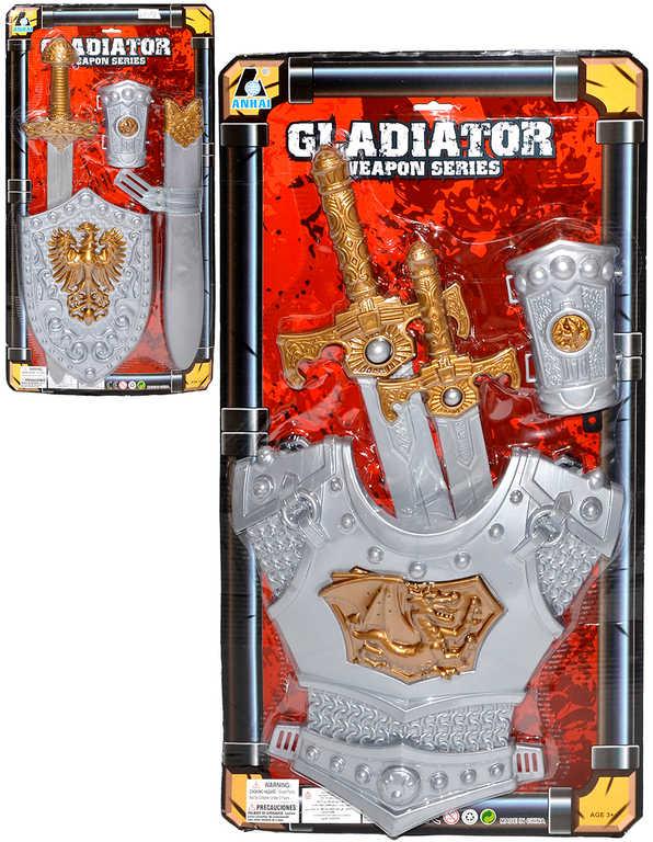 Set rytířský gladiator meč + štít / brnění s doplňky různé druhy plast