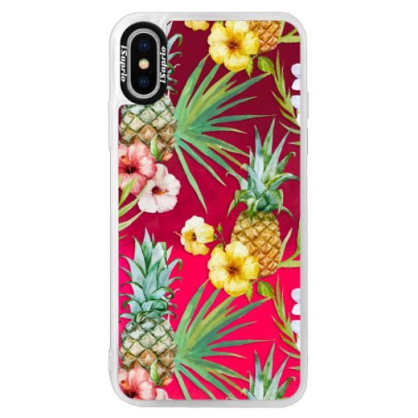 Neonové pouzdro Pink iSaprio - Pineapple Pattern 02 - iPhone XS