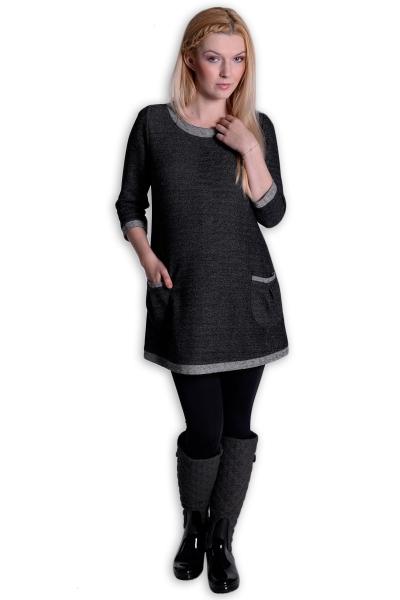 Těhotenské šaty Danny 3/4 rukáv - šedá/grafit - L/XL