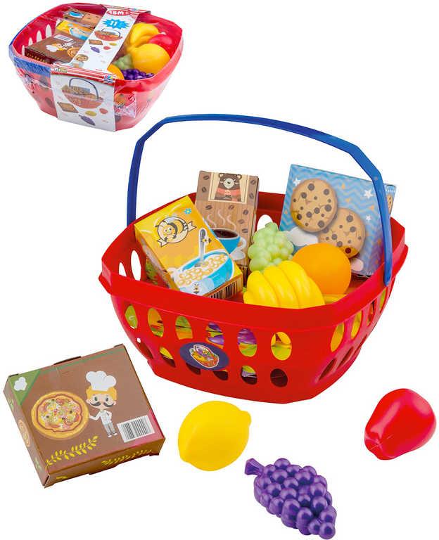 Baby košík nákupní set s maketami potravin plast pro miminko