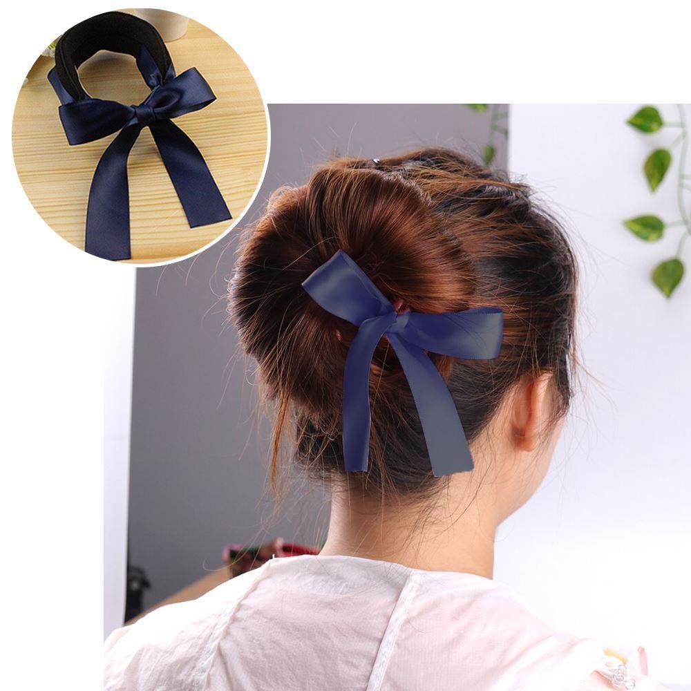 Klip do vlasů s mašlí - tmavě modrý