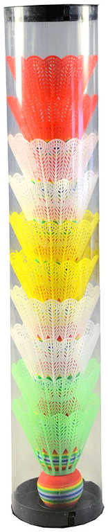 Míček plastový na badminton bílý + barevný košíček set 10ks v tubě