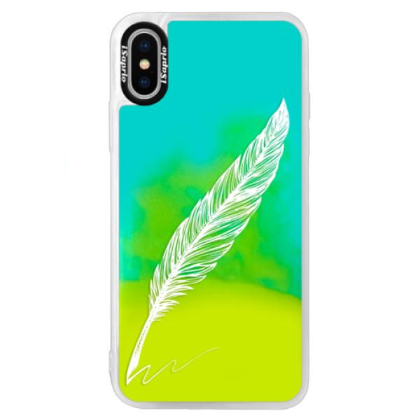 Neonové pouzdro Blue iSaprio - Writing By Feather - white - iPhone X