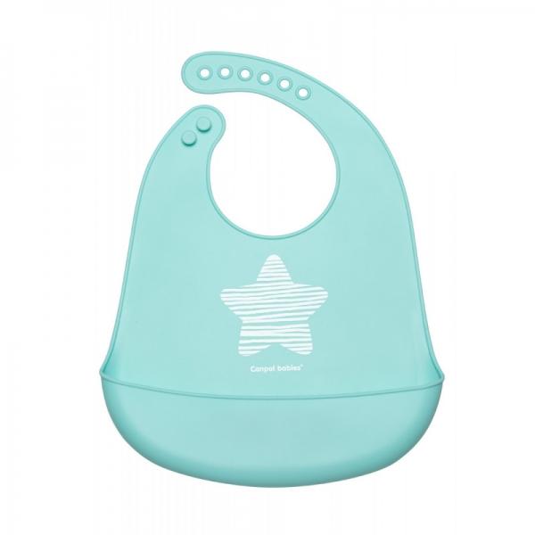 Silikonový bryndák s kapsičkou Canpol babies, Pastel - modrý