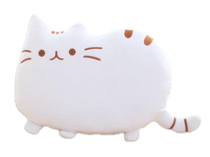 Plyšová kočka - dekorační polštářek 30x40cm, bílý