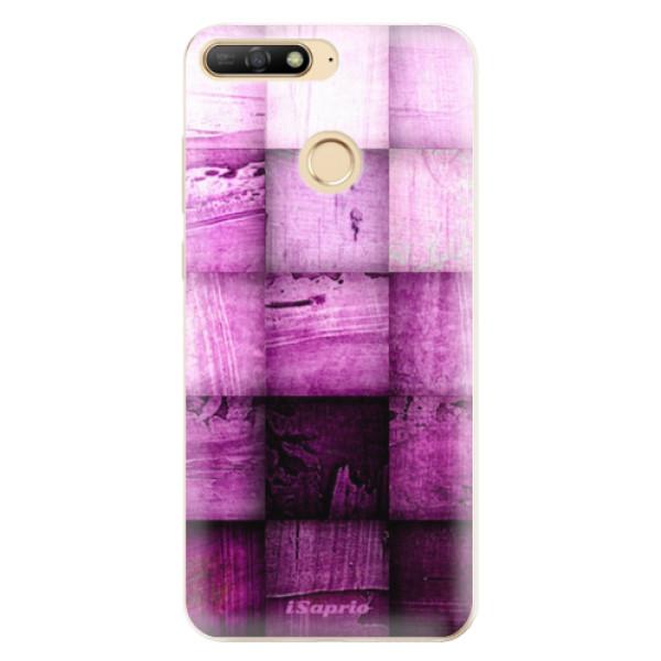 Odolné silikonové pouzdro iSaprio - Purple Squares - Huawei Y6 Prime 2018