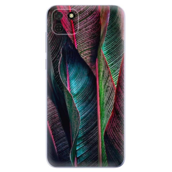 Odolné silikonové pouzdro iSaprio - Black Leaves - Huawei Y5p