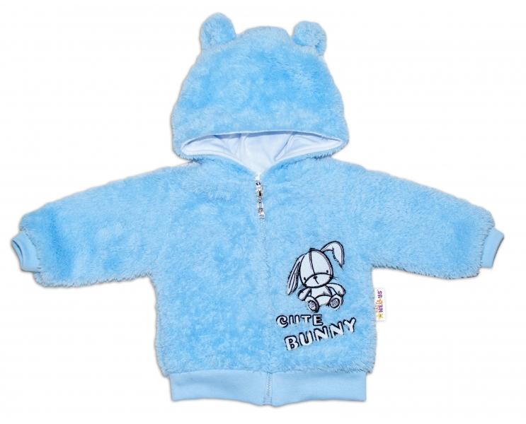 Baby Nellys Kojenecká chlupáčková bundička s kapucí Cute Bunny