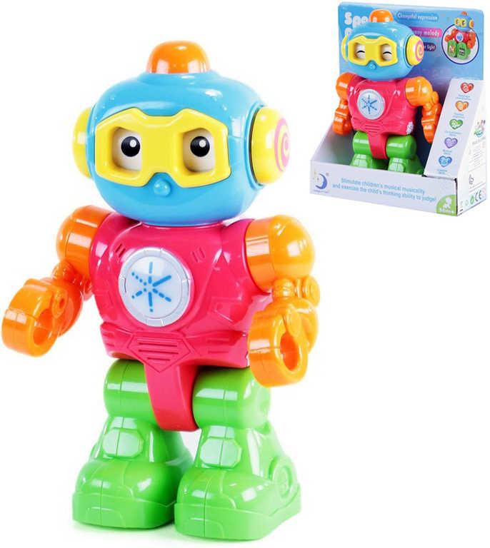 Baby robot barevný kloubový chrastící 24cm opakuje slova na baterie