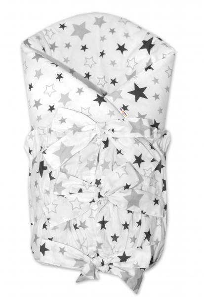 Zavinovačka se stuhou Hvězdy a hvězdičky - šedá/grafit na bílém