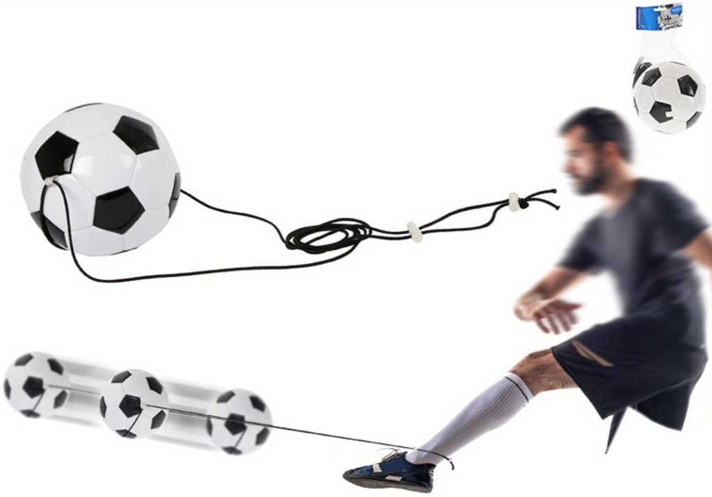 Trenažér fotbalový míč 19cm na pružném laně v sáčku