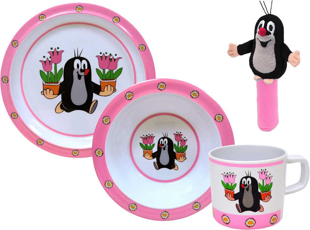 MORAVSKÁ ÚSTŘEDNA Dětské nádobí set 3ks + chrastítko Krtek (Krteček)