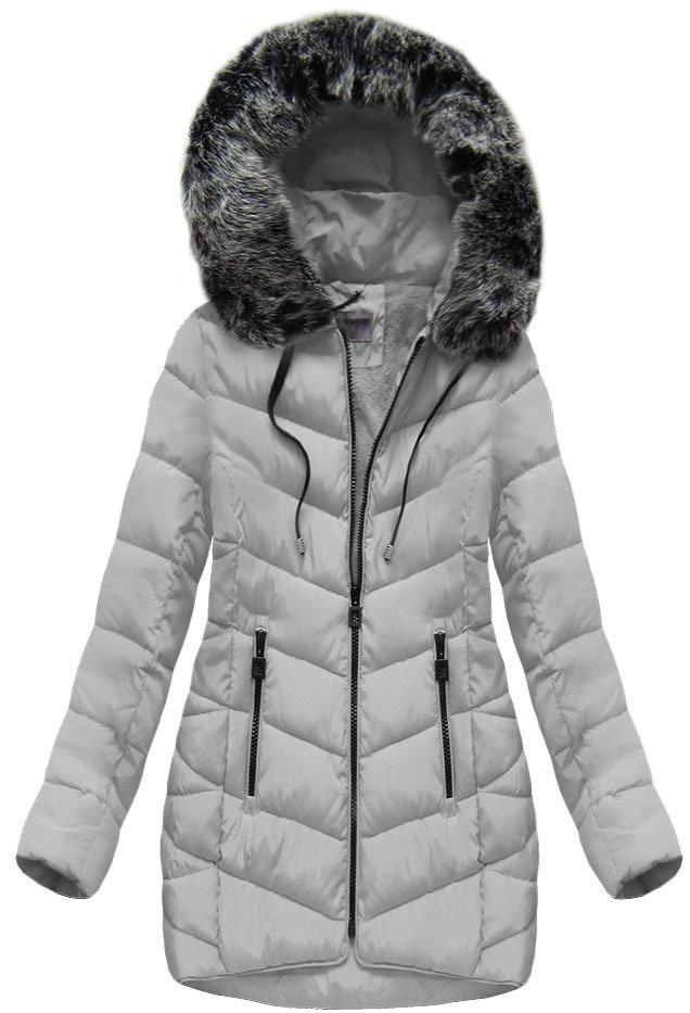 Šedá dámská zimní bunda s kapucí (B1039)