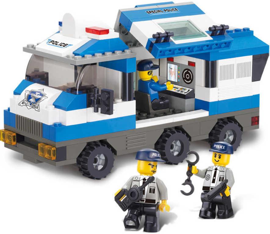 SLUBAN Stavebnice POLICIE multifunkční auto set 253 dílků + 3 figurky