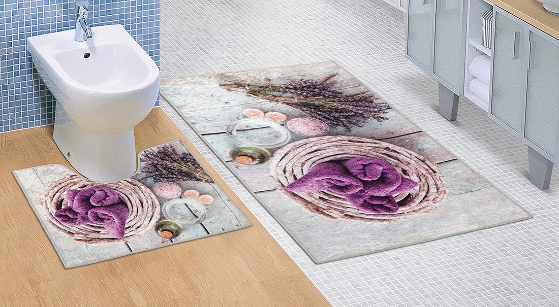 Koupelnová sada předložek 3D 60x100+60x50cm Levandule