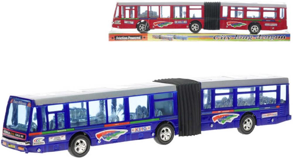 Autobus kloubový 42 cm na setrvačník - 2 barvy