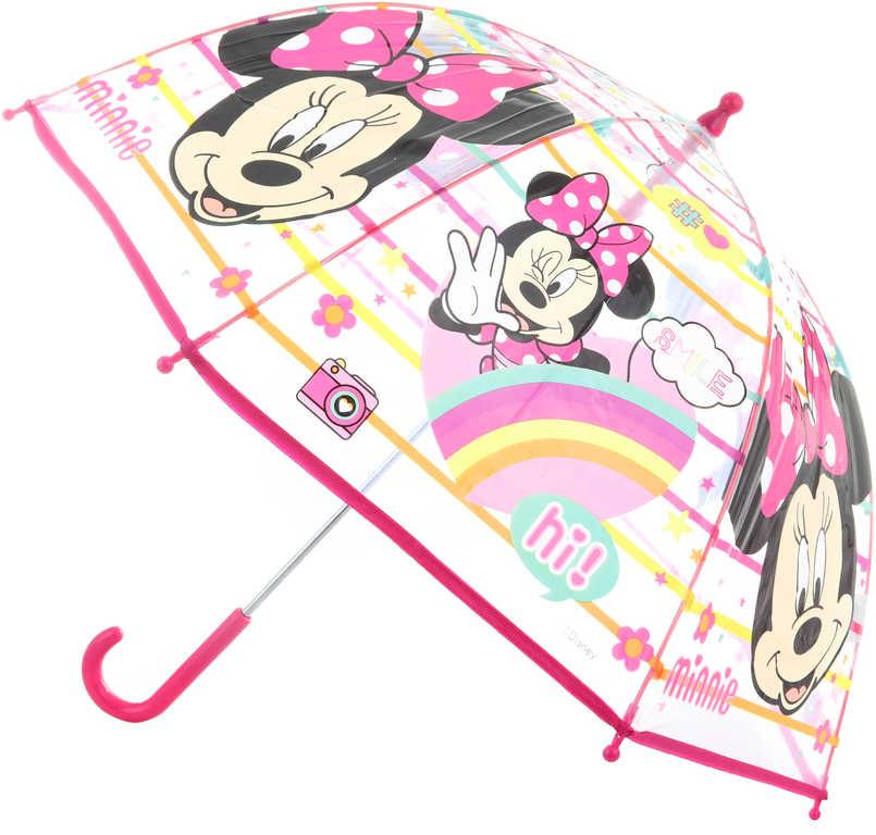 Deštník dětský Disney Minnie Mouse 70x70x64cm průhledný manuální