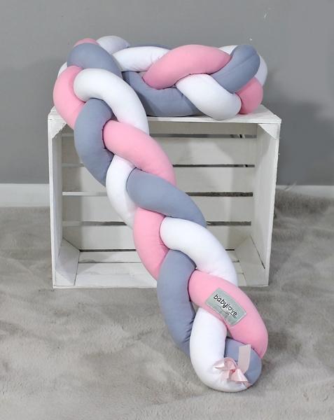 Mantinel Babylove pletený cop - šedá,růžová,bílá - 200x16
