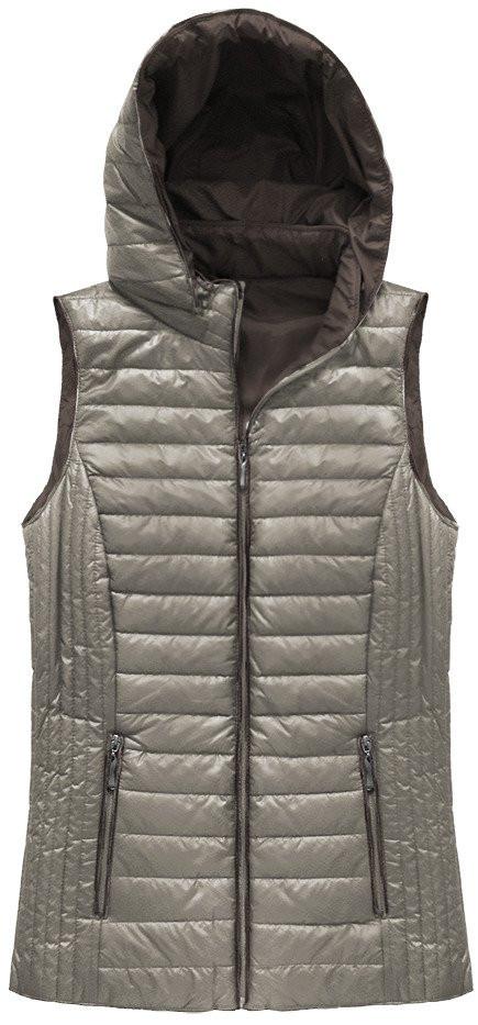 Prošívaná vesta v barvě kapučína s kapucí (B1067-30)