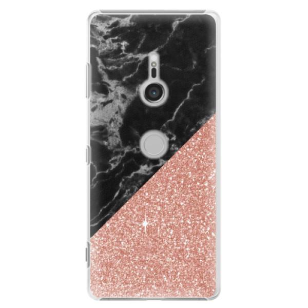 Plastové pouzdro iSaprio - Rose and Black Marble - Sony Xperia XZ3