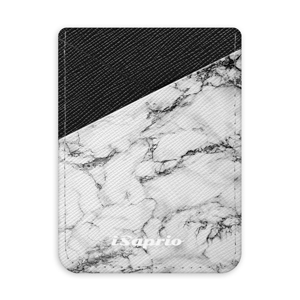 Pouzdro na kreditní karty iSaprio - White Marble 01 - tmavá nalepovací kapsa