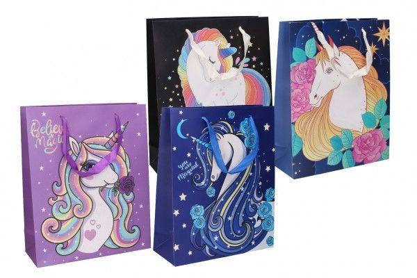 Dárková taška dětská s jednorožcem mix barev 32 x 26 x 10 cm