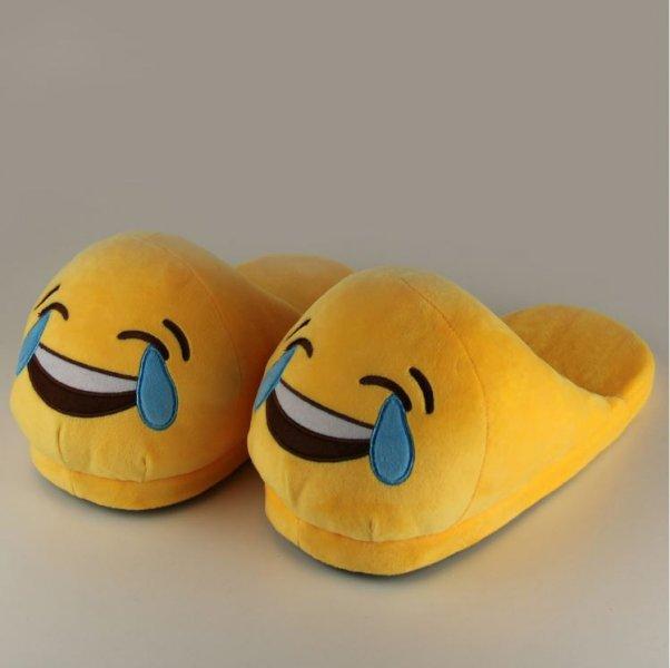 Plyšové pantofle EMOJI - Smích
