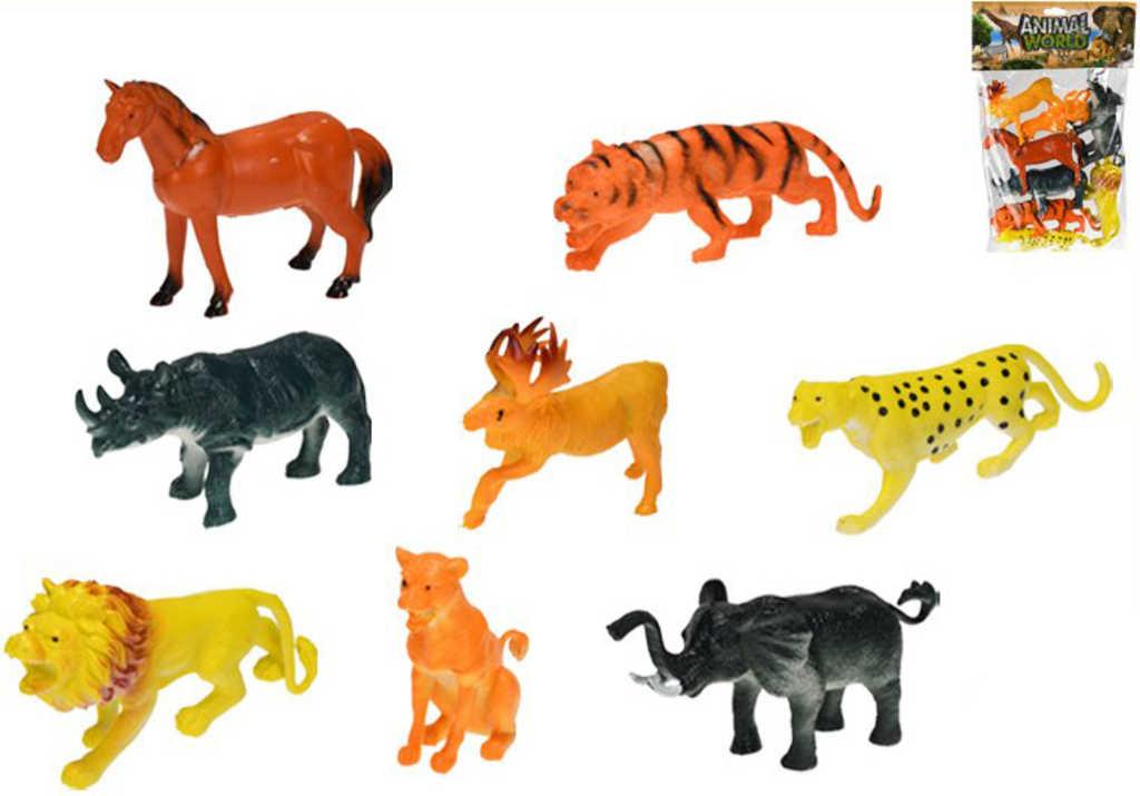 Zvířátka plastová safari 10-15cm set 8ks různé druhy v sáčku