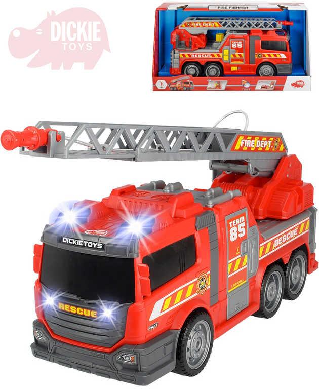 DICKIE Auto hasiči 36cm s funkční stříkačkou na vodu na baterie Světlo Zvuk