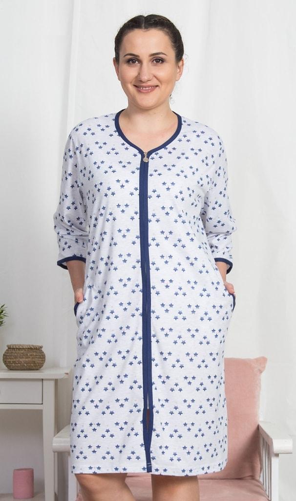 Dámské domácí šaty s tříčtvrtečním rukávem Marika - světle šedá