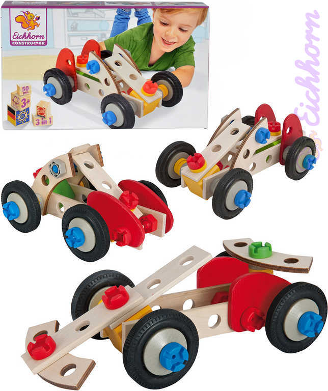 HEROS DŘEVO Constructor Racer 3 modely 50 dílků v krabici 3v1 STAVEBNICE
