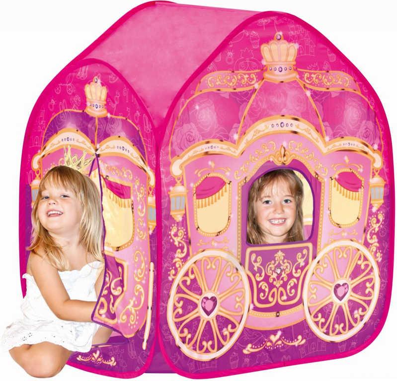 BINO Stan dětský Kočár pro princezny růžový boční vchod s okýnkem