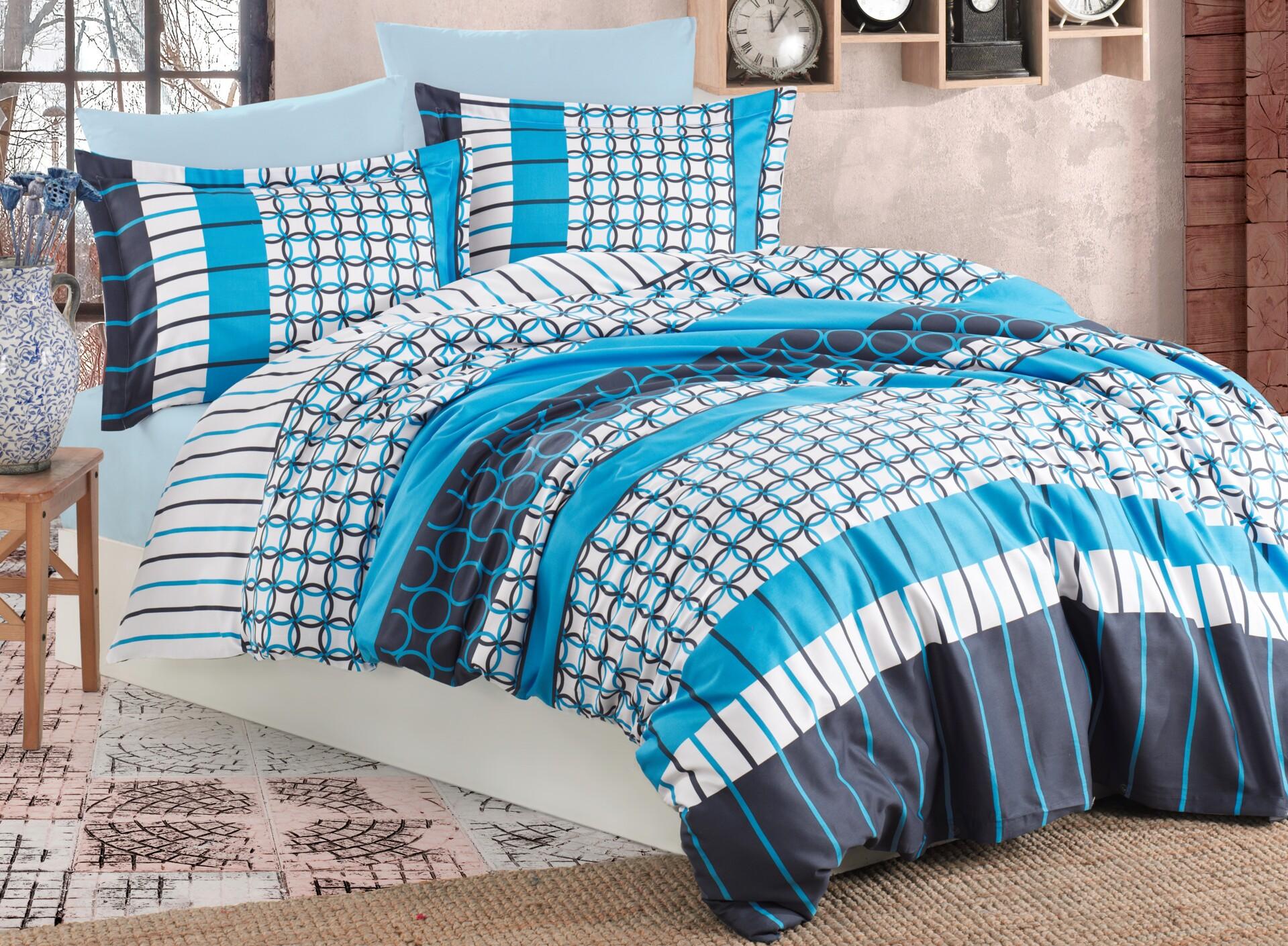 Povlečení francouzské bavlna 220x220,70x90 Metis blue, Výběr zapínání: zipový uzávěr