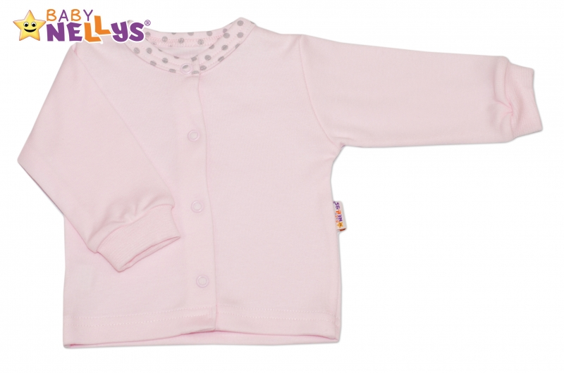 Bavlněná košilka Baby Nellys® PUNTÍKY - sv. růžový/sv. šedé puntíky - 80 (9-12m)