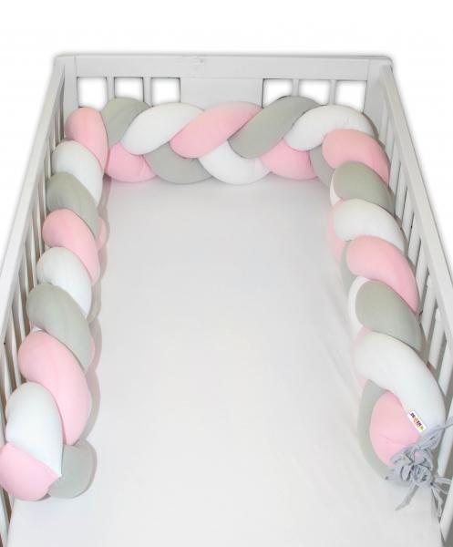 Mantinel Baby Nellys pletený cop - růžová, bílá, šedá - 200x16