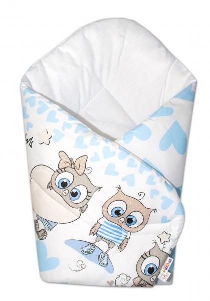 Novorozenecká zavinovačka Cute Animals, 75x75 cm, Baby Nellys - modrá - Klasické