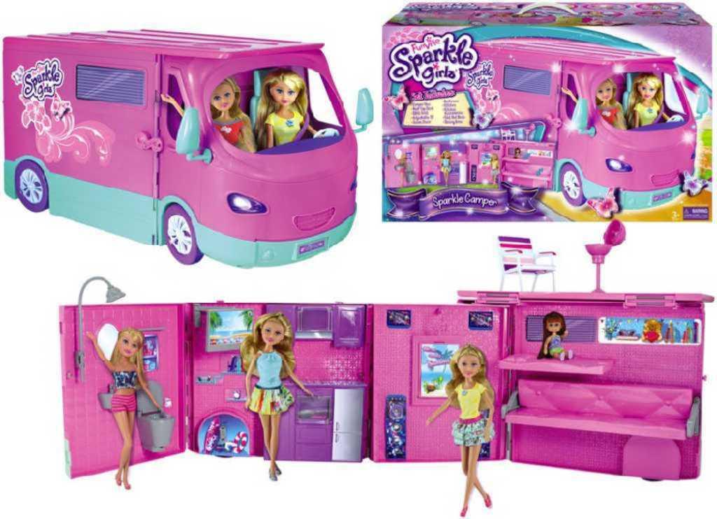 Karavan růžový Sparkle Girlz set obytný vůz skládací s doplňky plast