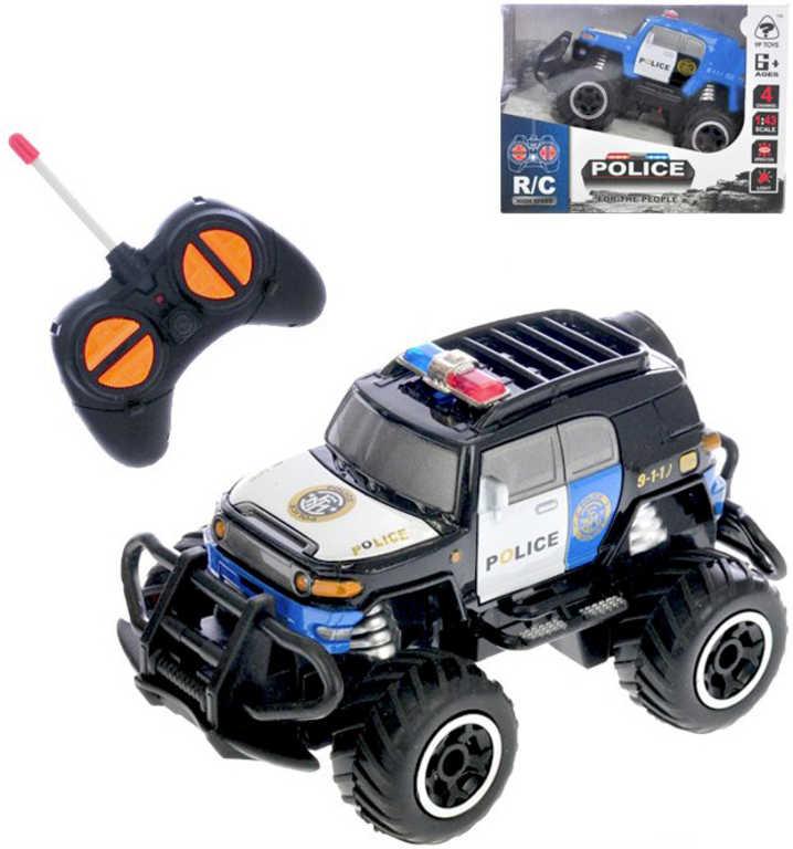 RC Auto terénní 1:43 policie 14cm na vysílačku 27MHz na baterie Světlo 2 barvy