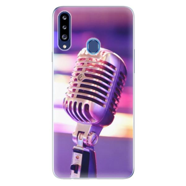 Odolné silikonové pouzdro iSaprio - Vintage Microphone - Samsung Galaxy A20s