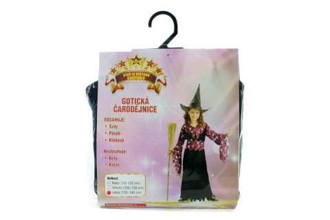 Šaty - Gotická Čarodějka, 130 - 140 cm