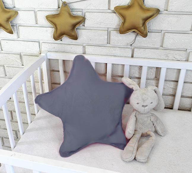 Baby Nellys Dekorační oboustranný polštářek - Hvězdička, 45 cm - tmavě šedá
