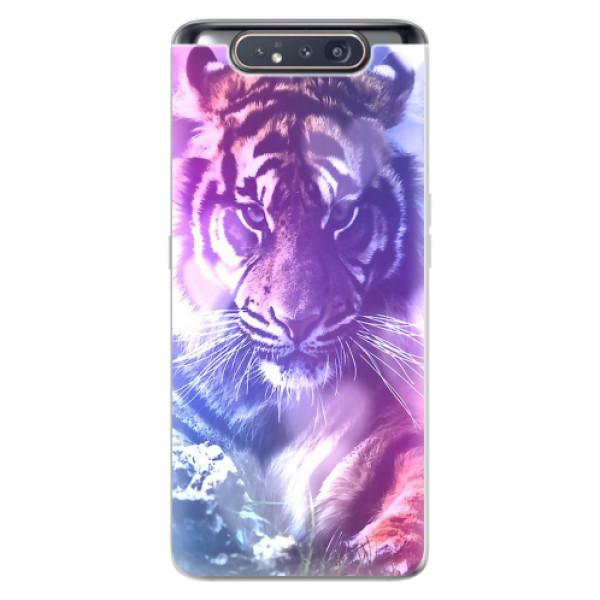 Odolné silikonové pouzdro iSaprio - Purple Tiger - Samsung Galaxy A80