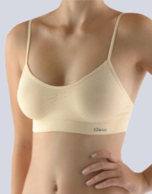 GINA dámské top s úzkými ramínky, úzká ramínka, bezešvé, jednobarevné MicroBavlna 07001P - tělová - S/M