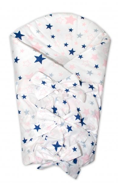 Zavinovačka se stuhou Hvězdy a hvězdičky - růžová/granát na bílém
