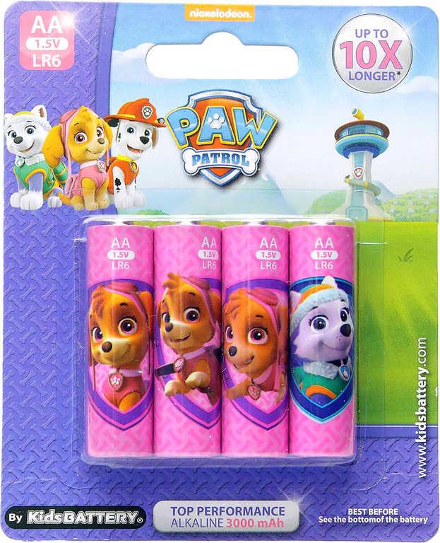 Baterie Tlapková Patrola AA (LR6) Alkaline 1,5V set 4ks pro holky na kartě