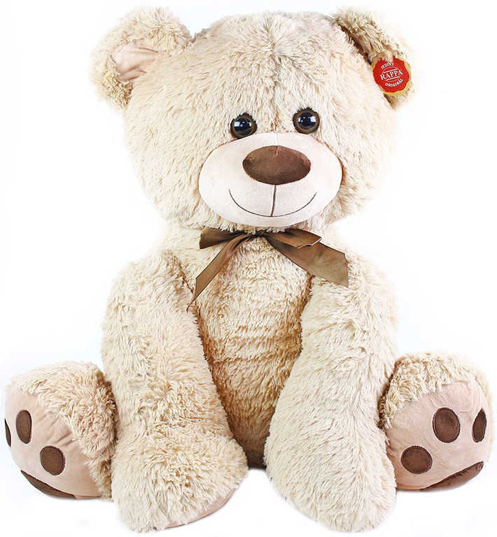 PLYŠ Medvěd Bruno 64 cm světlý s mašličkou